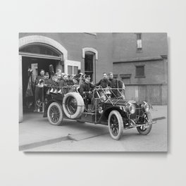 Fire Squad, 1911. Vintage Photo Metal Print