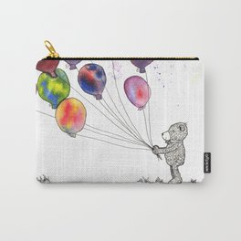 bear holding balloons watercolor and ink painting Carry-All Pouch