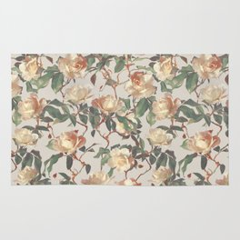 Soft Vintage Rose Pattern Rug