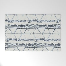 Simply Tribal Shibori in Indigo Blue on Lunar Gray Welcome Mat