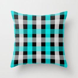 blue black checks Throw Pillow