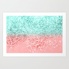 Summer Vibes Glitter #1 #coral #mint #shiny #decor #art #society6 Art Print