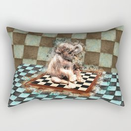 Baby Elephant on the chessboard digital art Rectangular Pillow