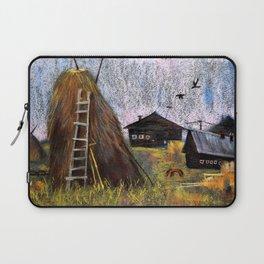 Hay mowing in the village Laptop Sleeve