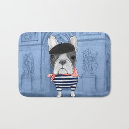 Frenchie with Arc de Triomphe Bath Mat