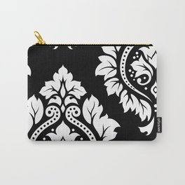 Decorative Damask Art I White on Black Carry-All Pouch