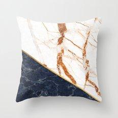 Classy Elegant White Blue Gold Marble Throw Pillow