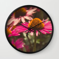 Pink Cone Flower Wall Clock