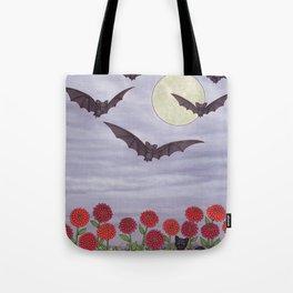 bats, zinnias, and black cat Tote Bag