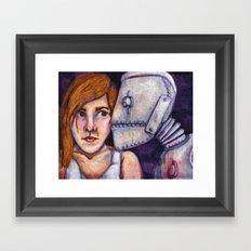 Robot Kiss Framed Art Print