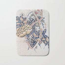 Design for Windrush by William Morris 1883 // Romanticism Blue Red Yellow Color Filled Floral Design Bath Mat