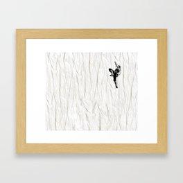 Woman Climbing a Wrinkle Framed Art Print