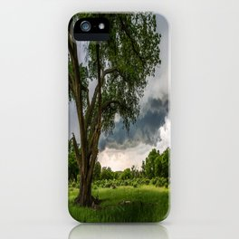 Big Tree - Tall Cottonwood and Passing Storm in Texas iPhone Case