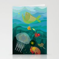 mermaids Stationery Cards featuring Mermaids by Caroline Krzykowiak