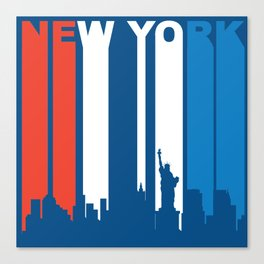 Red White And Blue New York City Skyline Canvas Print