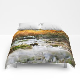 Autumn Forest Waterfall Comforters