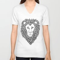 leo V-neck T-shirts featuring Leo by Julie Erin Designs