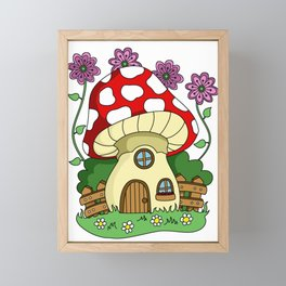 Toadstool Fairy House Framed Mini Art Print