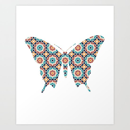 BUTTERFLY SILHOUETTE WITH PATTERN Art Print