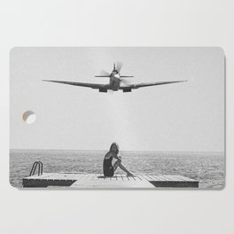 Steady As She Goes; aircraft coming in for an island landing black and white photography- photographs Cutting Board