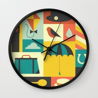 mary poppins Wall Clocks featuring Mary Poppins by Ariel Wilson