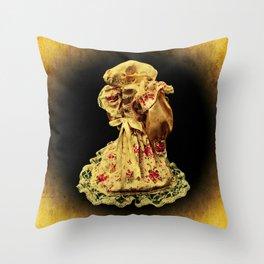 Horror In a Dress! Skull Doll Halloween Part 1 Throw Pillow