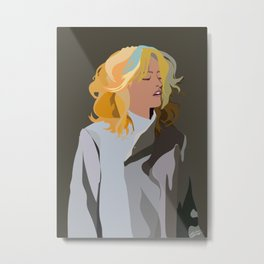 Woman with Colorful Hair in Trench Coat Metal Print