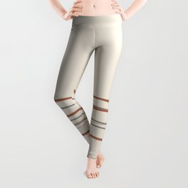 Off White Solid Color with Minimal Scribble Stripes Bottom Brown, Gray, And Beige Leggings