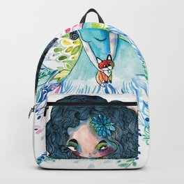 Blue nature with baby fox Backpack