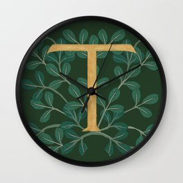 Forest Leaves Letter T 2018 Wall Clock