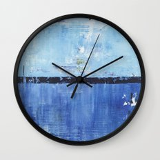 Shiver Abstract Art Blue Modern Water Painting  Wall Clock