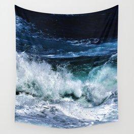 Dark Blue Waves Wall Tapestry