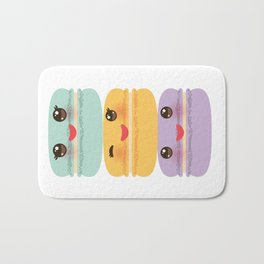 Kawaii macaroon funny orange blue lilac cookie with pink cheeks with pink cheeks and big eyes Bath Mat