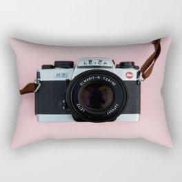 Camera on Blush Pink Background Rectangular Pillow
