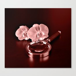 Orchid and magnifying glass in Marsala tones Canvas Print