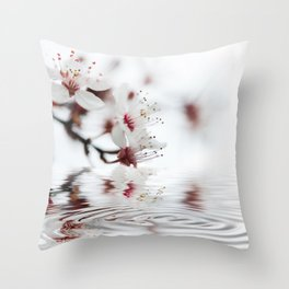 white cherry blossom and water reflection Throw Pillow