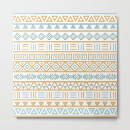 Aztec Influence Pattern Blue White Gold Metal Print