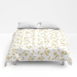 Shabby vintage orange brown bohemian floral pattern Comforters