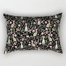 Cute rabbits. Black pattern Rectangular Pillow