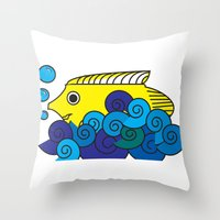marine Throw Pillows featuring Marine by yisuen