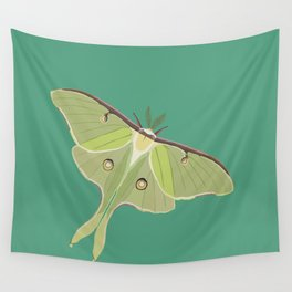 Luna Moth Drawing on Turquoise Background Wall Tapestry