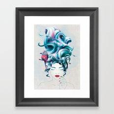 A girl with aqua hair Framed Art Print