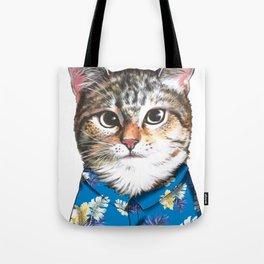 cat in blue hawaiian shirt Tote Bag