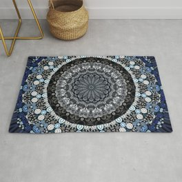 Dark Blue Grey Mandala Design Rug