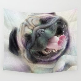 Happy Puggy Wall Tapestry