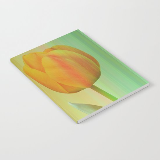 Head-to-Head, mixed media art with elegant Tulips Notebook