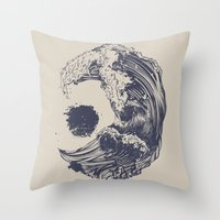 ink Throw Pillows featuring Swell by Huebucket