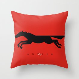 Graphic Horse Black on Red Throw Pillow