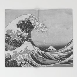 Black & White Japanese Great Wave off Kanagawa by Hokusai Throw Blanket