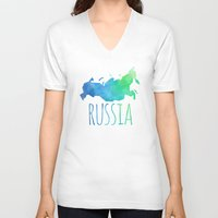 russia V-neck T-shirts featuring Russia by Stephanie Wittenburg